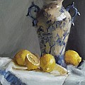 Viktoria K Majestic - Blue Vase and Lemons