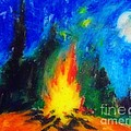 John Malone - Campfire in Forest at...