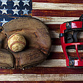 Catchers Glove On American Flag by Garry Gay