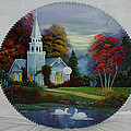 Darlene Prowell - Country Church with Swans