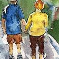 Sharon Mick - Couple in Love Walking...