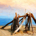 Driftwood Sculpture At Rincon by Ron Regalado