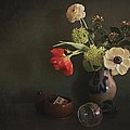 Hugo Bussen - Flowers in stone jar...
