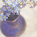 Forget Me Nots In Blue Vase by Lyn Randle