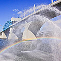 Fountains And The Market Street Bridge by Tom and Pat Cory