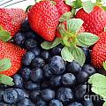 Fruit 2- Strawberries - Blueberries by Barbara Griffin