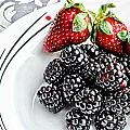 Fruit I - Strawberries - Blackberries by Barbara Griffin