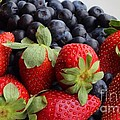 Fruit - Strawberries - Blueberries by Barbara Griffin