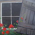 Glenda Barrett - Geraniums at log cabin