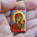 Handmade Miniature Icon Virgin Mary With Child Jesus by Denise Clemenco