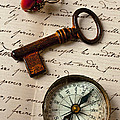 Key Ring And Compass by Garry Gay