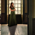 Lady In Green Gown By Window by Jill Battaglia