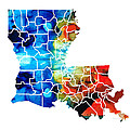 Sharon Cummings - Louisiana Map - State...