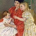 Mother And Sara Admiring The Baby by Marry Cassatt