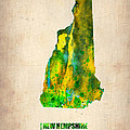New Hampshire Watercolor Map by Naxart Studio