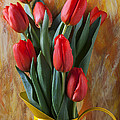 Orange Tulips In Yellow Pitcher by Garry Gay