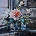 Donna Tuten - Pink and White Roses in...