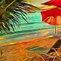 Lyn Voytershark - Red Beach Umbrellas -...