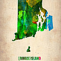 Rhode Island Watercolor Map by Naxart Studio
