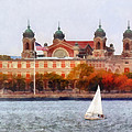 Susan Savad - Sailboat by Ellis Island