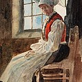 Scandinavian Peasant Woman In An Interior by Alexandre Lunois