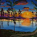 Jnana Finearts - Sunrise on the banks of...