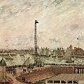 The Pilot's Jetty Le Harve Mornig Grey Weather Misty by Camille Pissarro