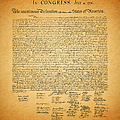 The United States Declaration Of Independence - Square by Wingsdomain Art and Photography