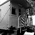 Train - The Caboose - Black And White by Paul Ward