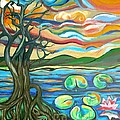 Tree And Lilies At Sunrise by Genevieve Esson