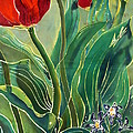 Tulips And Pushkinia Detail by Anna Lisa Yoder