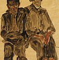 Two Seated Boys by Egon Schiele