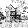 Victorian Farmhouse Pen And Ink by Renee Forth-Fukumoto
