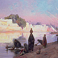 Washerwomen On The Banks Of The Nile by Eugene Alexis Girardet