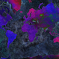 World Map - Purple Flip The Dark Night - Abstract - Digital Painting 2 by Andee Design