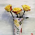 Yellow And Red Tipped Roses by Marsha Heiken