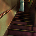 Young Woman In Nightgown On Stairs by Jill Battaglia