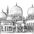 Lee-Ann Adendorff - Abu Dhabi Masjid in ink