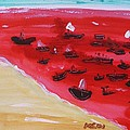 Mary Carol Williams - Fishing Boats on a Red...