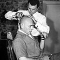 Yul Brynner Getting Shaved By Makeup by Everett
