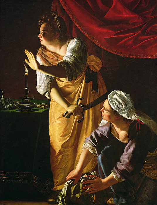 Judith Painting -  Judith And Maidservant With The Head Of Holofernes by Artemisia Gentileschi
