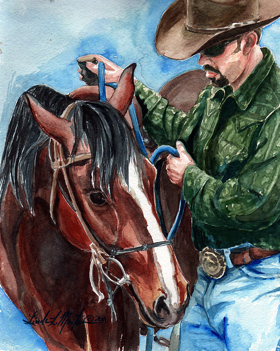 Wild Horse Painting -  Just A Bit by Linda L Martin