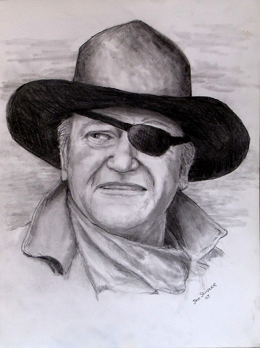 Cowboy  Drawing -  The Duke by Jack Skinner