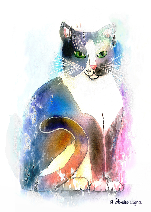 Cat Mixed Media - Cat Of Many Colors by Arline Wagner