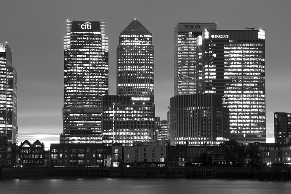 Canary Wharf Photograph - Docklands Canary Wharf Sunset Bw by David French