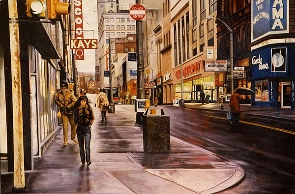 Cityscape / Street Scene / Urban Scenes Painting - Fifth Avenue In The 80s by James Guentner