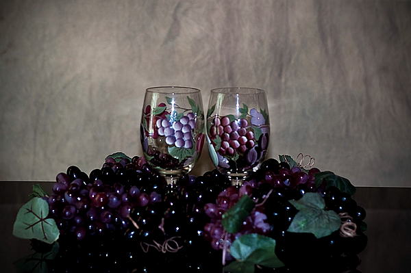 Hand Painted Wine Glasses Grapes And More Grapes  Photograph