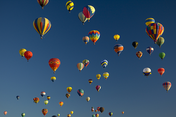 Hot Air Balloons Fly In A Hot Air Print by Ralph Lee Hopkins