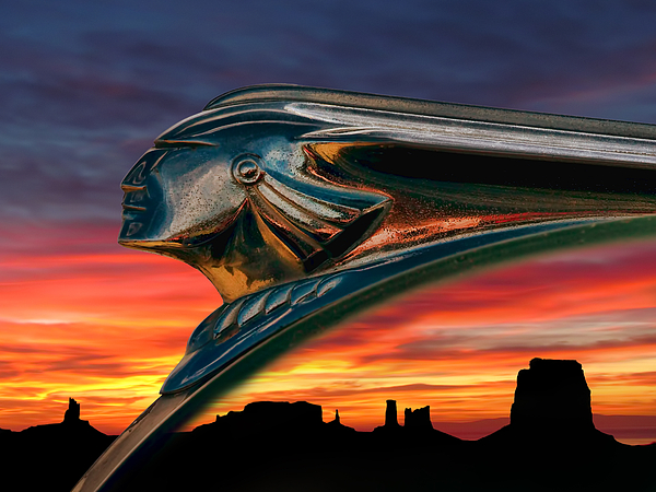 hood Orament Indian Mascot Pontiac Chrome monument Valley Sunset Landscape Dramatic Silhouette Fire Chief Automotive Auto Car Ornament Orange Mesa Canyon Digital Art - Indian Rainbow by Douglas Pittman