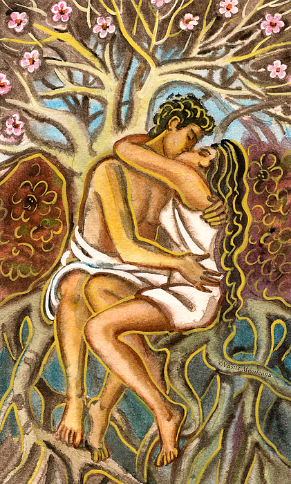 Vasile Movileanu Painting - Lovers Kissing Each Other Under A Blooming Tree by Vasile Movileanu
